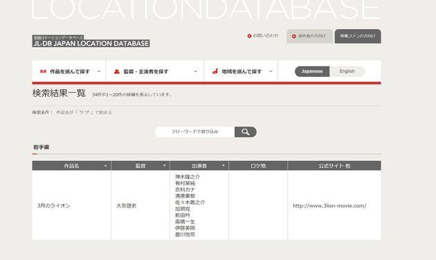 文化庁がクールジャパン施策の一環としてオープンしているロケーションデータベース