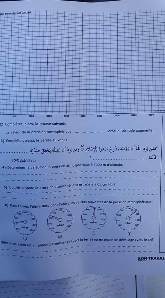 Dans un examen de physique un professeur demande à ses élèves de terminer un verset coranique, tollé sur les réseaux