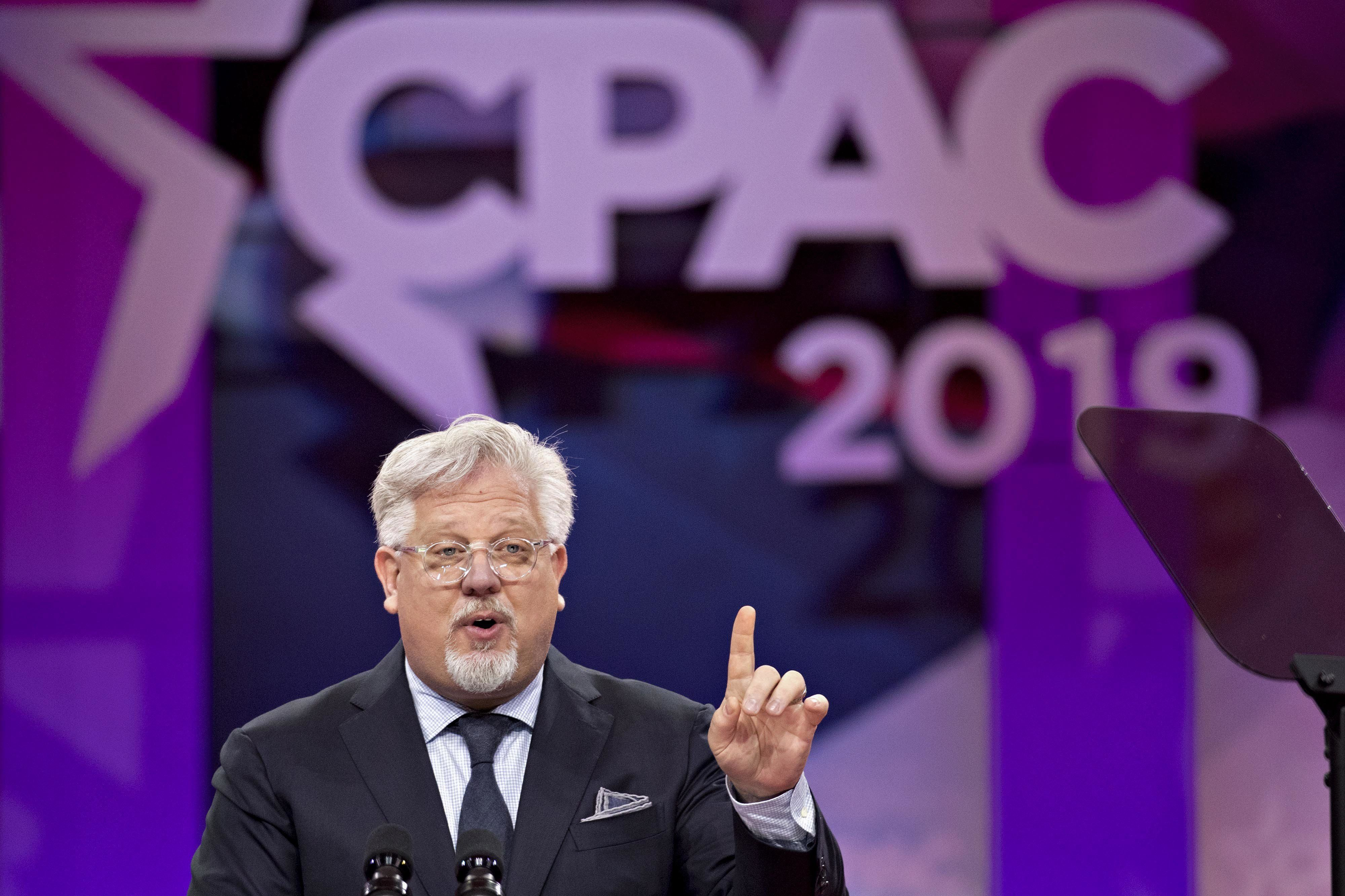 Television personality Glenn Beck speaks during the Conservative Political Action Conference (CPAC) in National Harbor, Maryland, U.S., on Friday, March 1, 2019. President Trump will attend this year's Conservative Political Action Conference on his return from a summit with North Korea leader Kim Jong Un in Hanoi. Photographer: Andrew Harrer/Bloomberg via Getty Images
