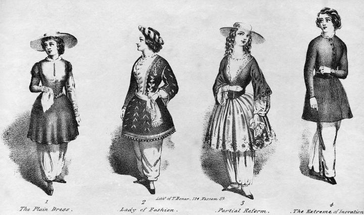A drawing featuring different exampled of bloomers, circa 1850s.