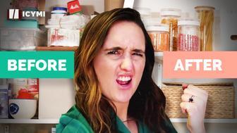 Sarah celebrates her newly organized pantry.