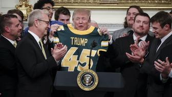 North Dakota State football team visits President Trump at the White House. (Bloomberg via Getty Images)