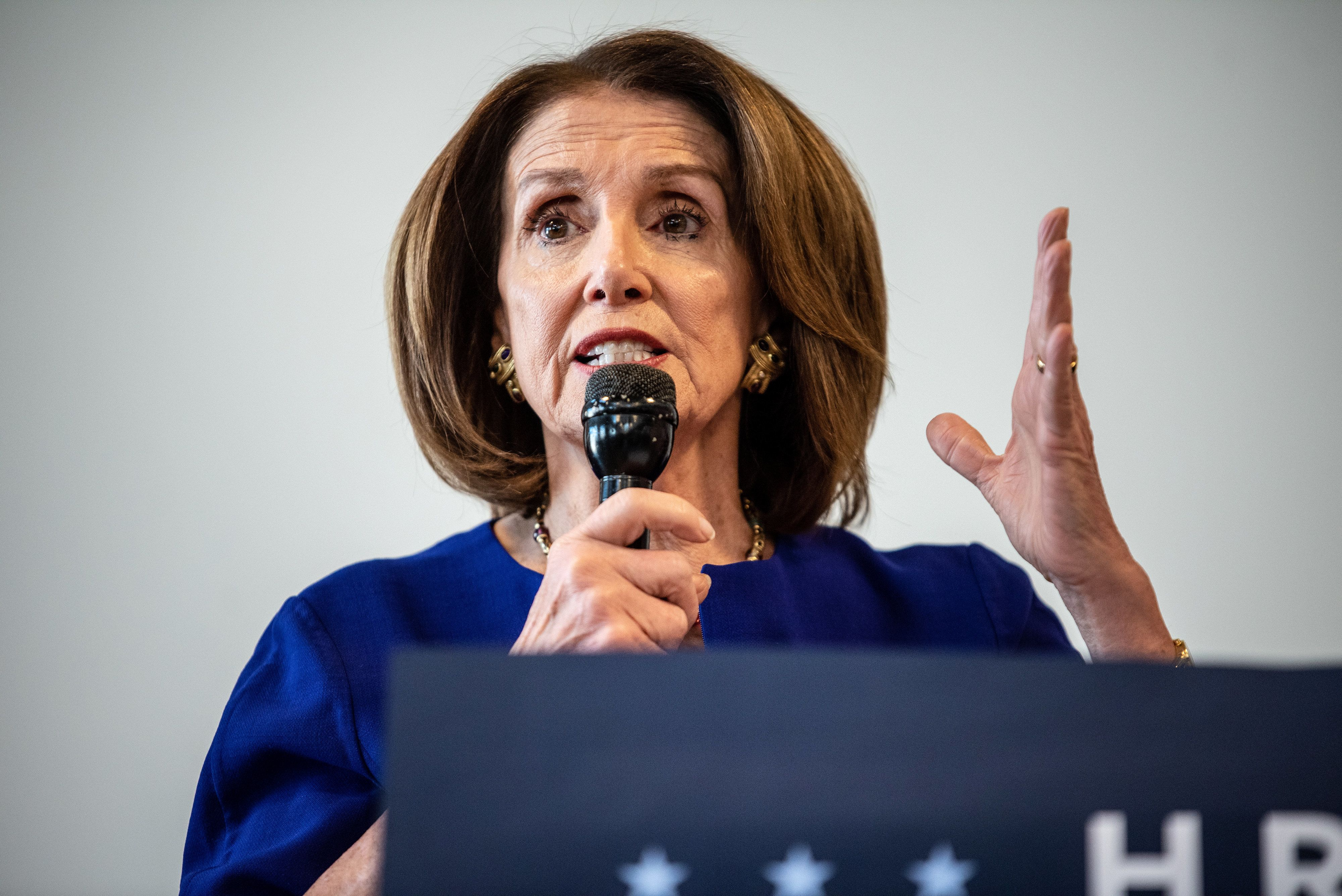 U.S. House Speaker Nancy Pelosi, a Democrat from California, speaks during an H.R. 1 act event in Austin, Texas, U.S., on Tuesday, March 5, 2019. The bill would make purges of voter rolls more difficult by requiring more stringent checks before a registered voters name can be removed, and by requiring a states cross-check of names on out-of-state voter databases to be completed no later than 6 months before an election. Photographer: Sergio Flores/Bloomberg via Getty Images