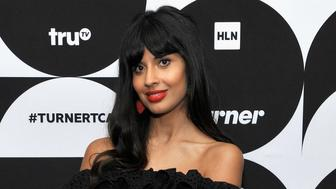 PASADENA, CA - FEBRUARY 11: (EDITORS NOTE: Retransmission with alternate crop.) Jameela Jamil of 'The Misery Index' poses in the green room during the TCA Turner Winter Press Tour 2019 at The Langham Huntington Hotel and Spa on February 11, 2019 in Pasadena, California. 505702  (Photo by John Sciulli/Getty Images for Turner)