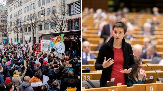 Kämpfen gegen Artikel 13: Demonstranten in Berlin und Ska Keller im