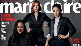 Ava DuVernay, Constance Wu, Jessica Chastain on the cover of Marie Claire. Photo by Amanda Demme.