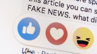 Berlin, Germany - March 01: Symbolic photo on the topic of fake news in social media. Next to the 'like me' button from facebook the words 'fake news' are displayed on a computer screen on March 01, 2019 in Berlin, Germany. (Photo Illustration by Thomas Trutschel/Photothek via Getty Images)