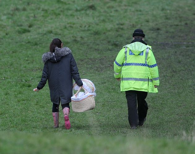 A cot was taken to retrieve baby Pearl's body from woodland in Heywood, Greater Manchester in April last