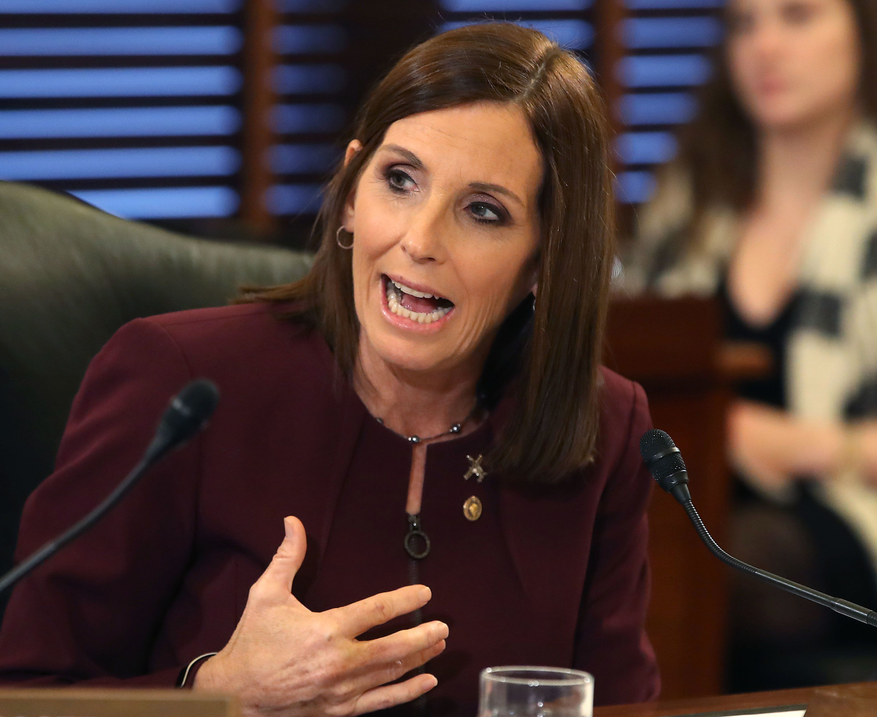 WASHINGTON, DC - MARCH 06: Sen. Martha McSally (R-AZ) speaks during a Senate Armed Service Committee on prevention and response to sexual assaults in the military, on March 6, 2019 in Washington, DC.    (Photo by Mark Wilson/Getty Images)