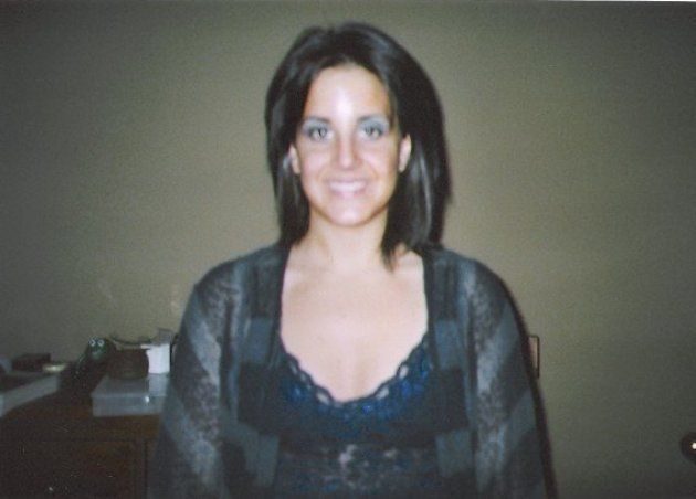 Stefanie, age 26 in this photo, wearing an outfit and eye shadow that apparently warranted a