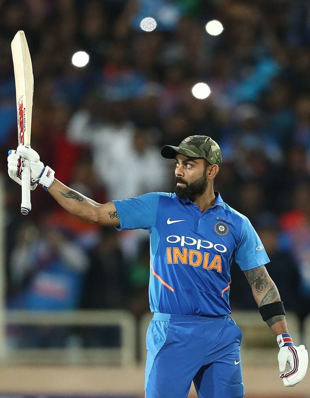 Virat Kohli celebrates after scoring a century in Ranchi on