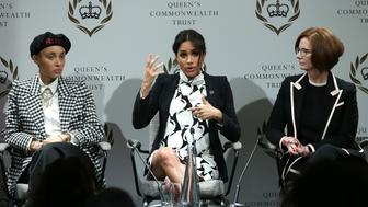 LONDON, ENGLAND - MARCH 8: (L-R) British model Adwoa Aboah, Meghan, Duchess of Sussex and former Australian Prime Minister Julia Gillard attend a panel discussion convened by the Queen's Commonwealth Trust to mark International Women's Day on March 8, 2019 in London, England. (Photo by Daniel Leal-Olivas - WPA Pool/Getty Images)