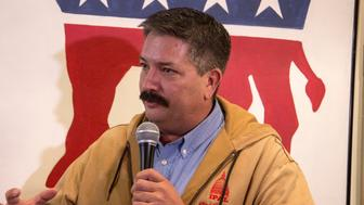 RACINE, WI - NOVEMBER 04: Wisconsins 1st Congressional District candidate Randy Bryce (D) speaks to supporters at a campaign stop for Democratic candidate for Wisconsin Governor Tony Evers at the Racine County Democratic office on November 4, 2018 in Racine, Wisconsin. (Photo by Darren Hauck/Getty Images)