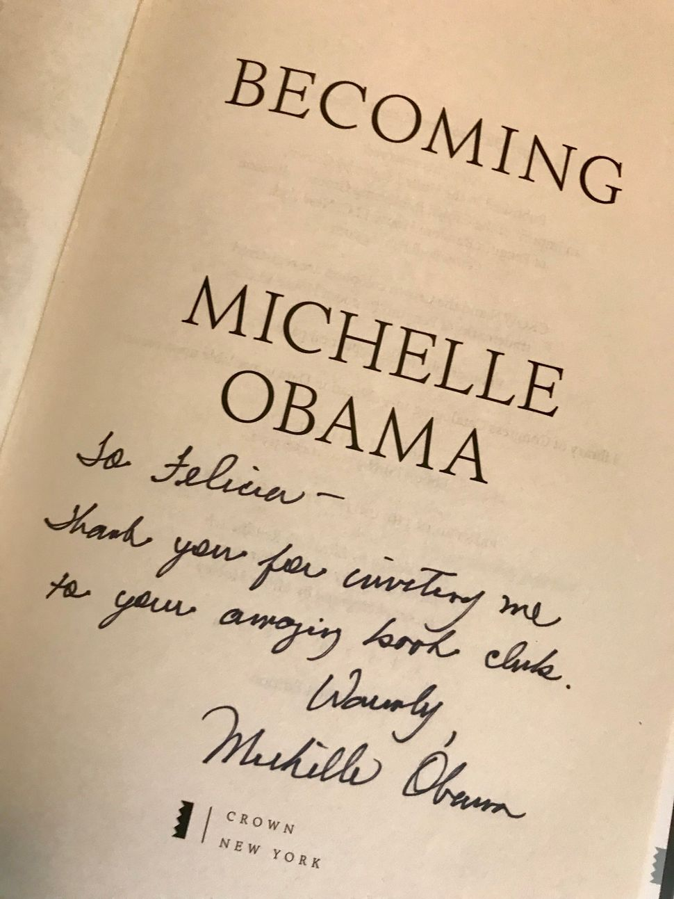 My copy of Becoming, complete with a personal note from Mrs. Obama.