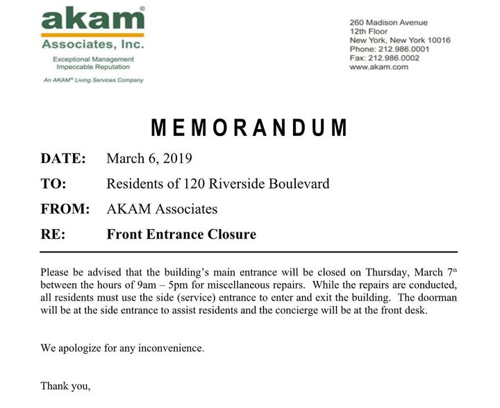 A memo from AKAM Associates, which manages the building, informing residents that the entrance would be closed