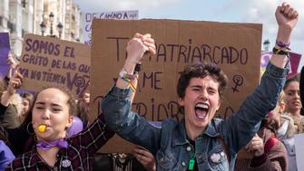 In the morning, a feminist strike was held in the streets of Santander, Spain, on 8 March 2019,  to commemorate March 8 (International Women's Day). (Photo by Joaquin Gomez Sastre/NurPhoto via Getty Images)
