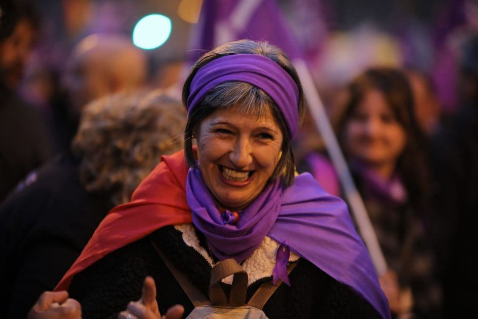Women wore purple for a demonstration in Madrid.