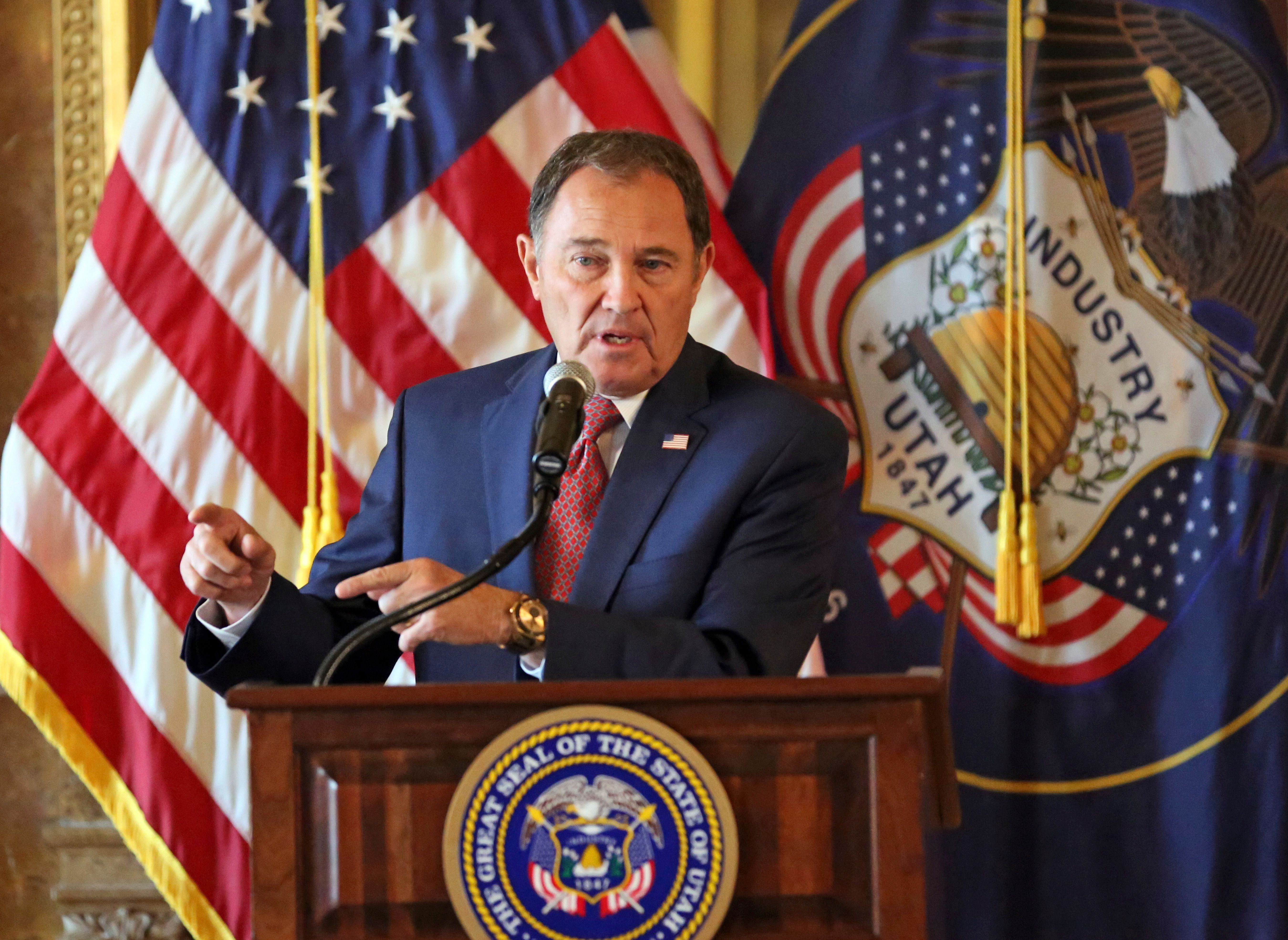 Utah Gov. Gary Herbert addresses Utah's teacher shortage during a news conference at the Utah State Capitol Wednesday, Sept. 12, 2018, in Salt Lake City. Herbert is pleading Utah teachers to stay in their classrooms and for those who have left to come back. (AP Photo/Rick Bowmer)