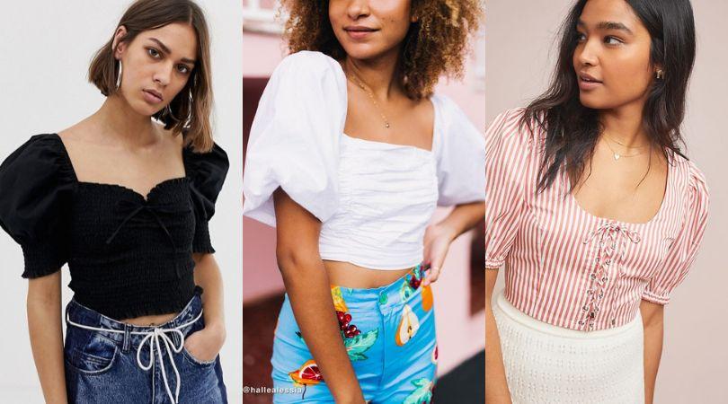 ASTR the label Womens Drew Short Puff Sleeve Fashion Crop Top