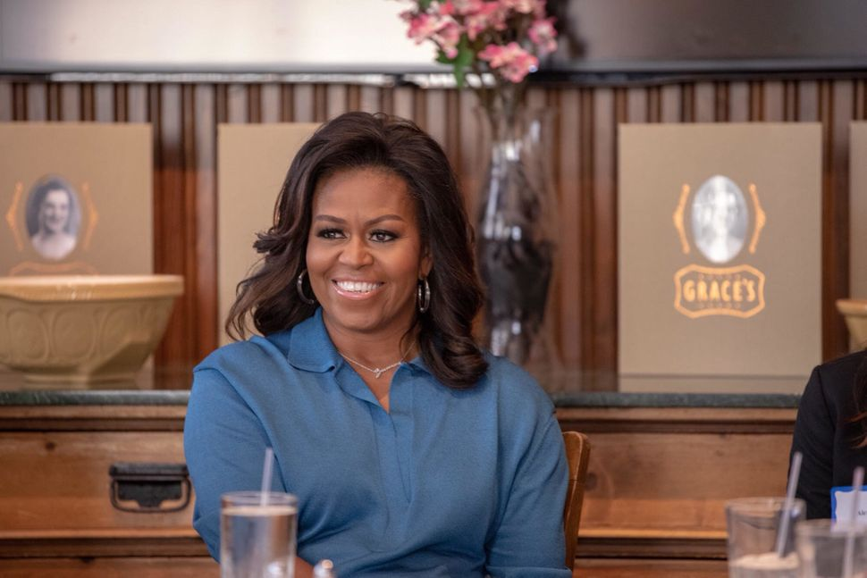 Michelle Obama enjoying a chat with members of my HTX Book and Brunch club.