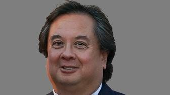 George Conway headshot, husband of Kellyanne Conway, the White House senior adviser to President Trump, graphic element on gray