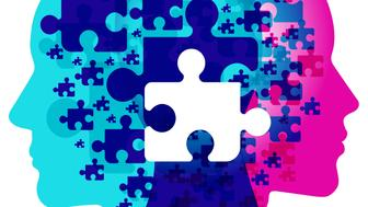 A male and female side silhouette positioned back to back, overlaid with various sized jigsaw puzzle shapes. A white jigsaw piece is centrally positioned overlapping the detail pattern of shapes.