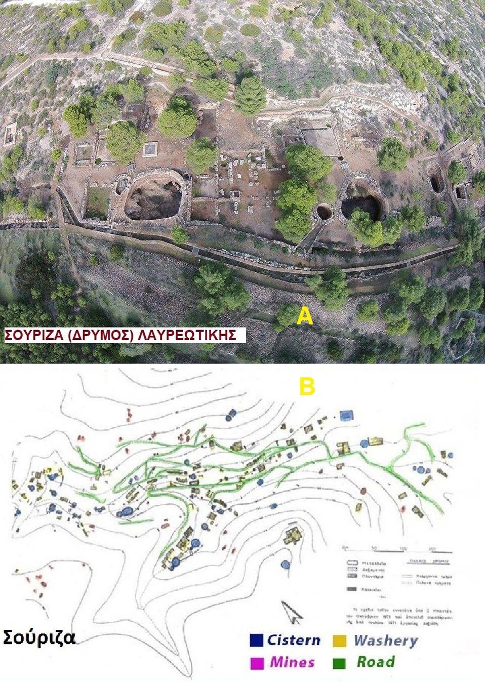 """Εικ.1. A.Ο αρχαιολογικός χώρος κοιλάδας  Σούριζας (Δρυμού) η λεγόμενη  """"ανασκαφή Ε. Κακαβογιάννη"""". Β. Αποτύπωση των εγκαταστάσεων εμπλουτισμού μεταλλευμάτων και μεταλλείων της κοιλάδας της Σούριζας."""