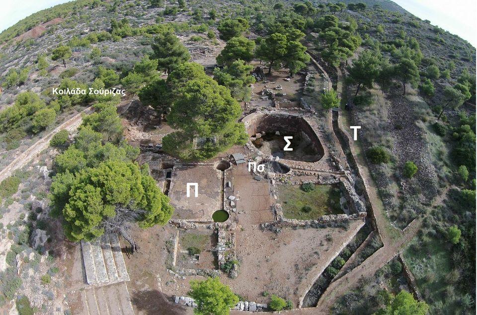 Εικ.4.Φωτογραφία με Drone των εγκαταστάσεων εμπλουτισμού του μεταλλεύματος στον αρχαιολογικό χώρο της κοιλάδας της Σούριζας (Δρυμός).