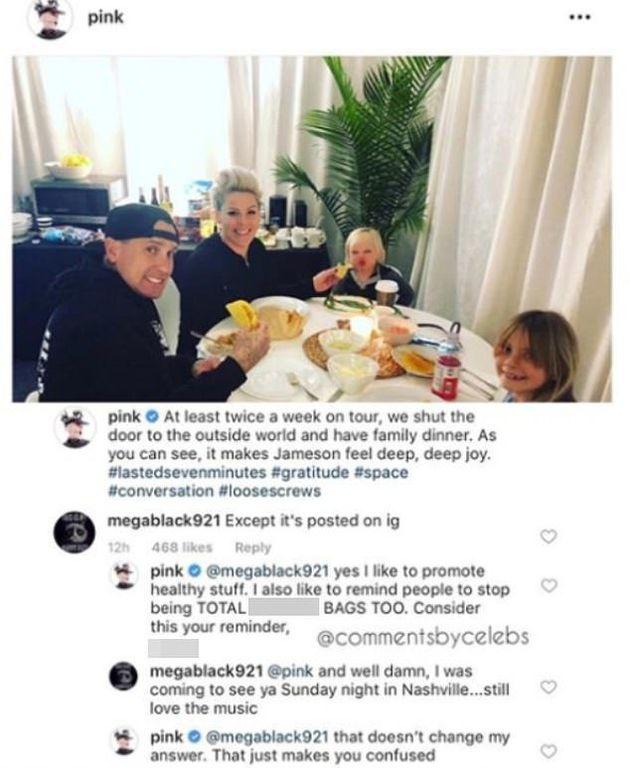 Χρήστης τρόλαρε φωτογραφία της Pink στο Instagram και εκείνη έδωσε την καλύτερη