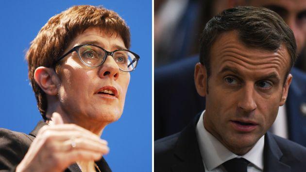 Annegret Kramp-Karrenbauer und Emmanuel Macron.