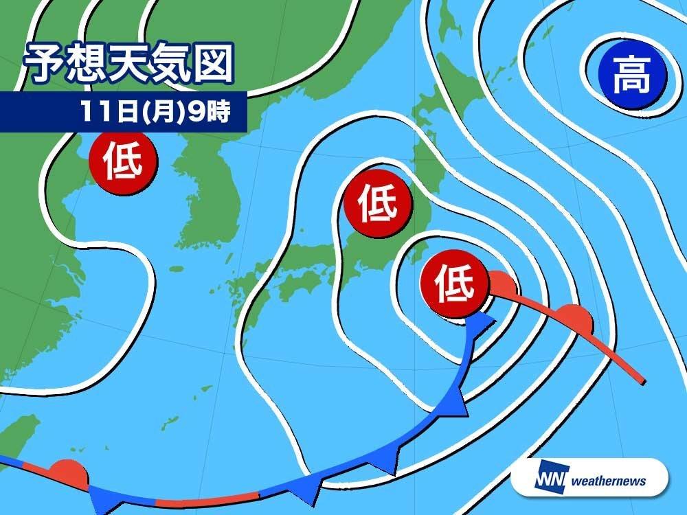 11日(月)9時の予想天気図