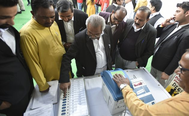 EVMs, VVPAT machines on display for judges of district court and lawyers during an event to impart awareness...