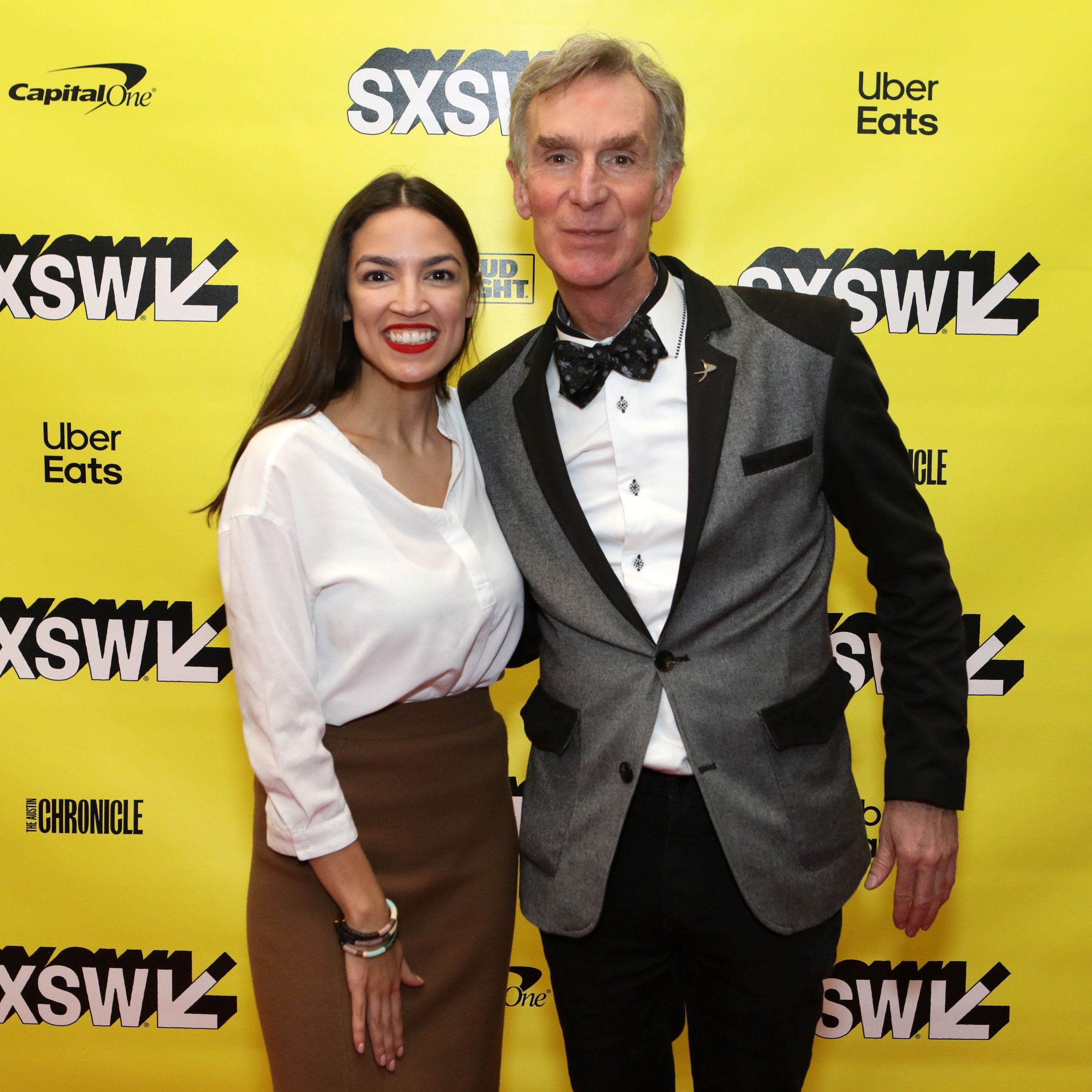 AUSTIN, TX - MARCH 09:  (L-R) Alexandria Ocasio-Cortez and Bill Nye attend Featured Session: Alexandria Ocasio-Cortez and the New Left during the 2019 SXSW Conference and Festivals at Austin Convention Center on March 9, 2019 in Austin, Texas.  (Photo by Samantha Burkardt/Getty Images for SXSW)