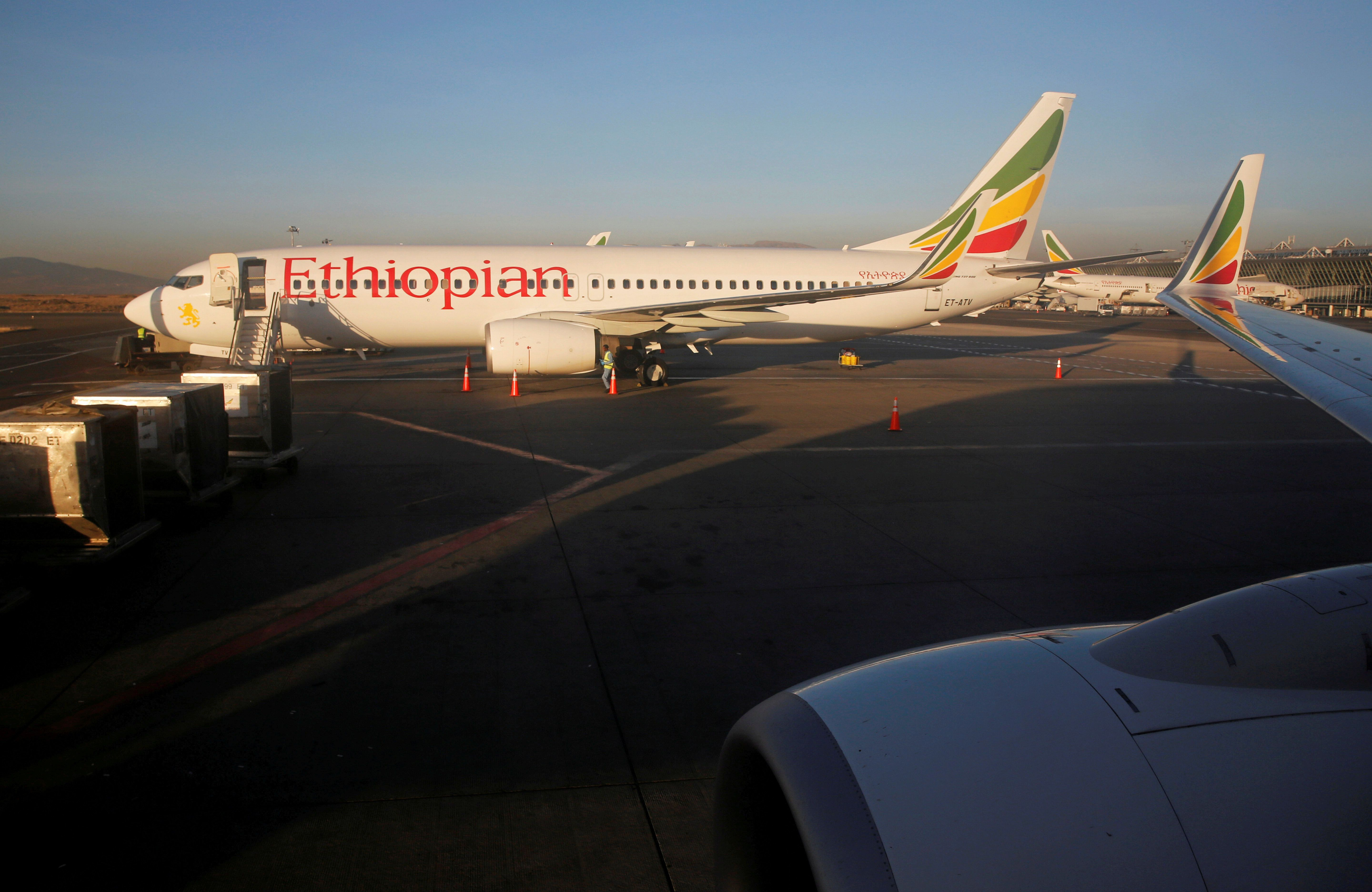 Workers service an Ethiopian Airlines Boeing 737-800 plane at the Bole International Airport in Ethiopia's capital Addis Ababa, January 26, 2017. Picture taken January 26, 2017. REUTERS/Amr Abdallah Dalsh