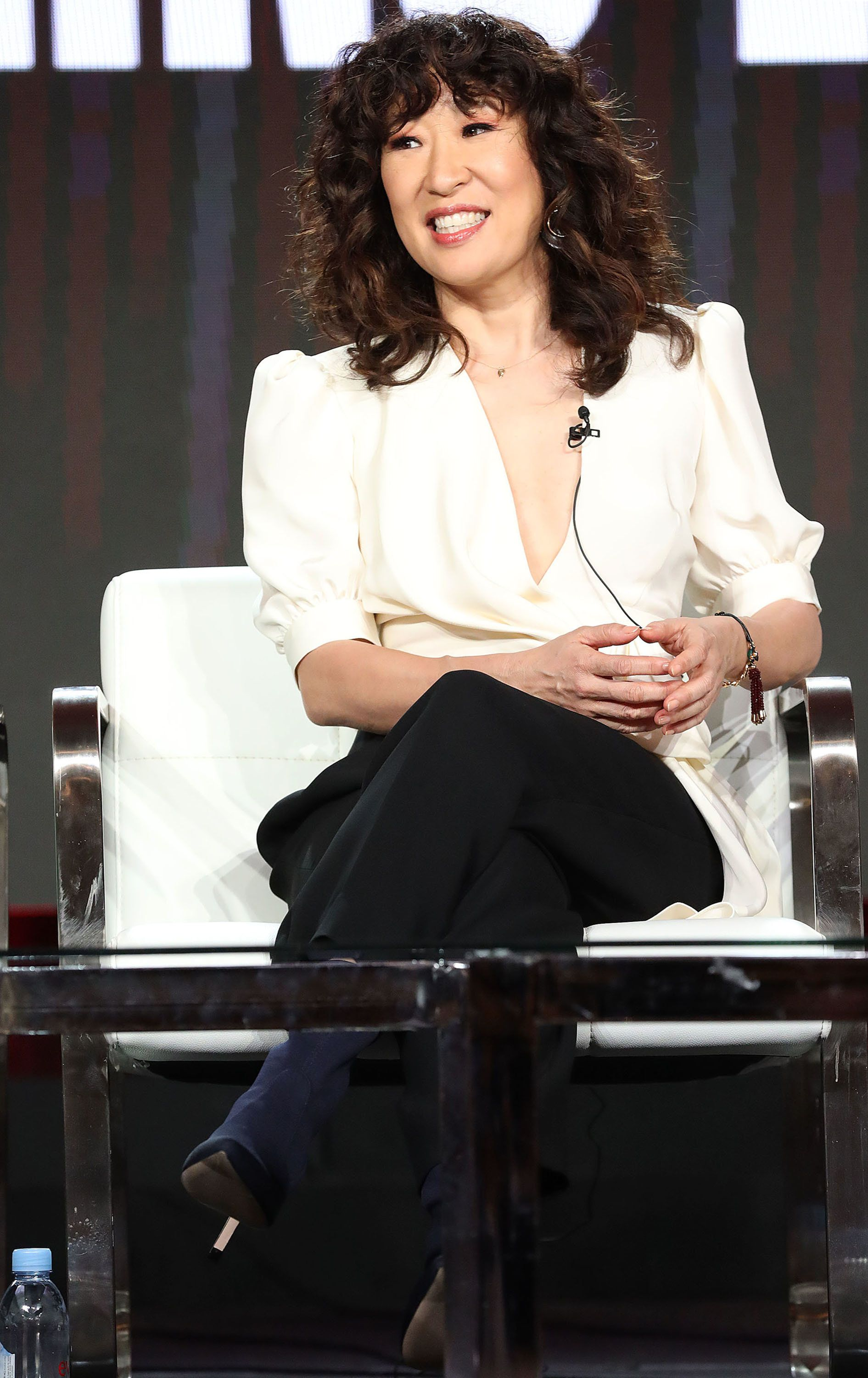 PASADENA, CALIFORNIA - FEBRUARY 09: Sandra Oh of the television show 'Killing Eve' speaks during the BBC America segment of the 2019 Winter Television Critics Association Press Tour at The Langham Huntington, Pasadena on February 09, 2019 in Pasadena, California. (Photo by Frederick M. Brown/Getty Images)