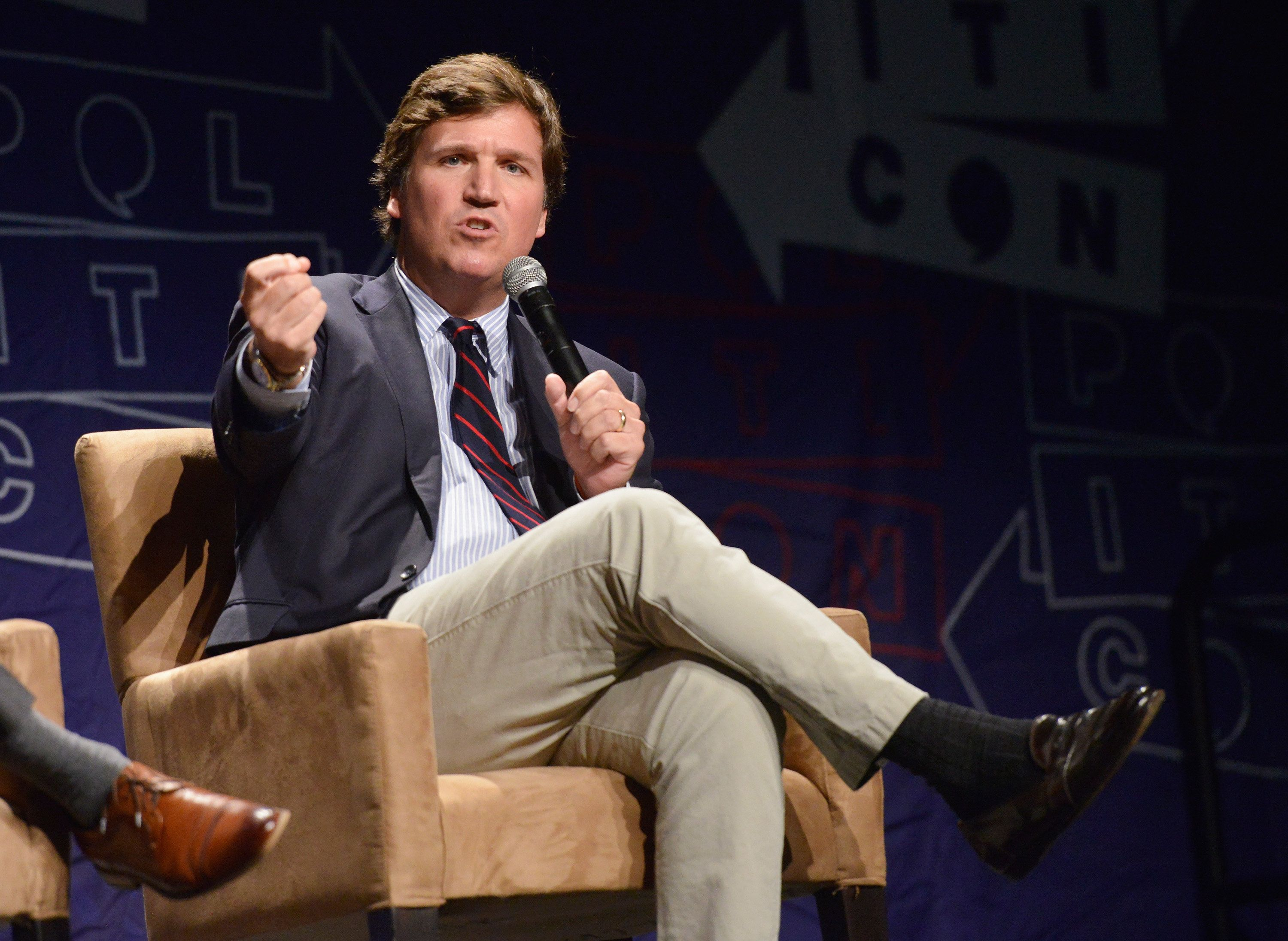LOS ANGELES, CA - OCTOBER 21:  Political commentator Tucker Carlson speaks during Politicon 2018 at Los Angeles Convention Center on October 21, 2018 in Los Angeles, California.  (Photo by Chelsea Guglielmino/Getty Images)