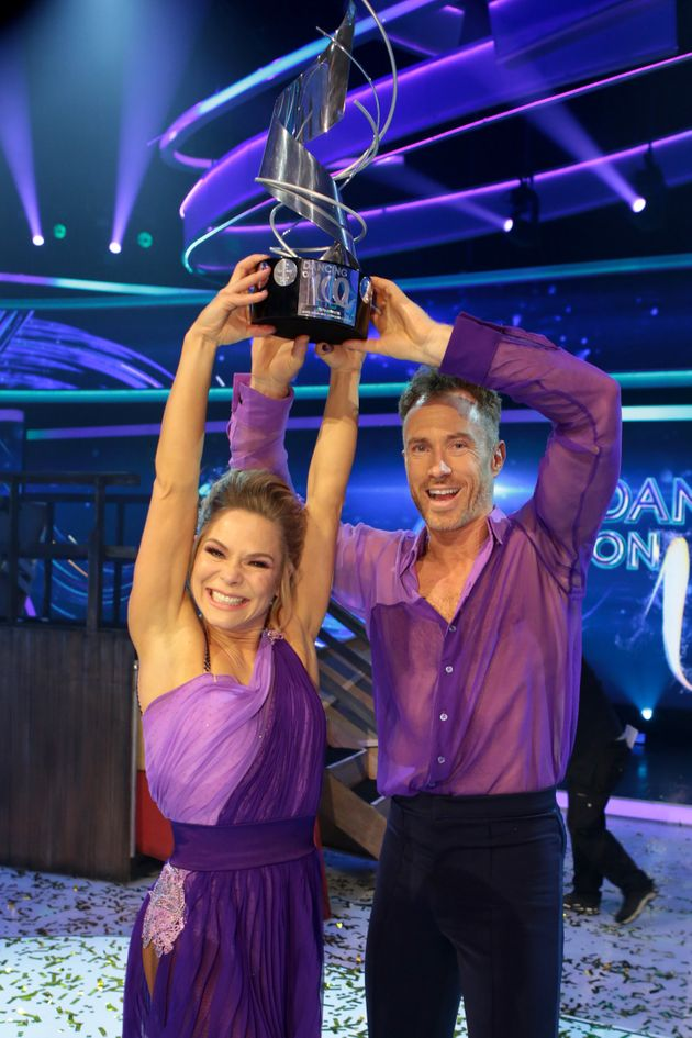 James and his dance partner Alexandra Schauman celebrate their