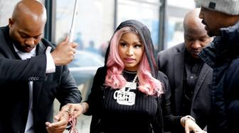 American rapper, songwriter, and actress, Nicki Minaj arrives at the music streaming service Tidal´s office in Oslo, on March 4, 2019. (Photo by Ole Berg-Rusten / NTB Scanpix / AFP) / Norway OUT        (Photo credit should read OLE BERG-RUSTEN/AFP/Getty Images)