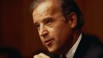 Senator Joseph Biden questions Janet Reno at the hearing for her nomination to the position of Attorney General.