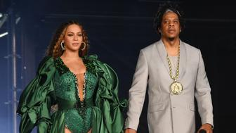 JOHANNESBURG, SOUTH AFRICA - DECEMBER 02: Beyonce and Jay-Z perform during the Global Citizen Festival: Mandela 100 at FNB Stadium on December 2, 2018 in Johannesburg, South Africa.  (Photo by Kevin Mazur/Getty Images for Global Citizen Festival: Mandela 100)