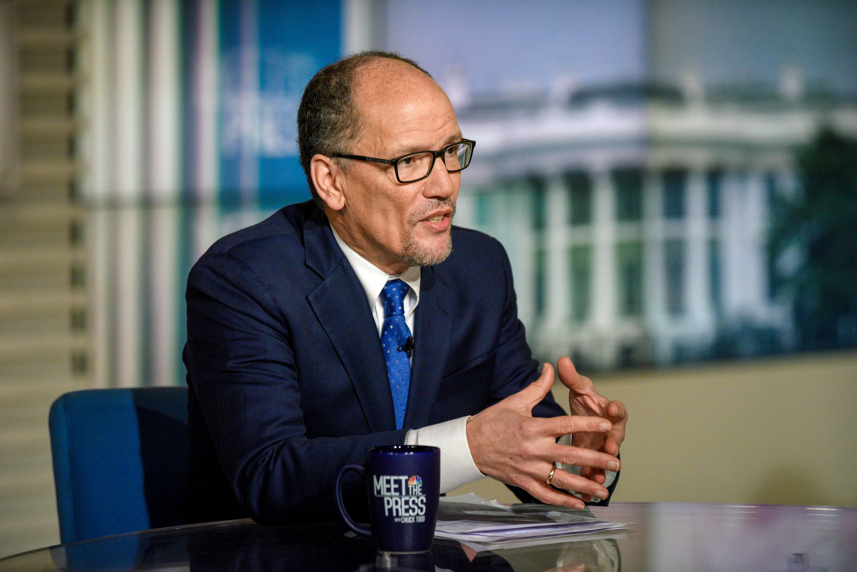 MEET THE PRESS -- Pictured: (l-r) ? Tom Perez, Chair, Democratic National Committee appears on 'Meet the Press' in Washington, D.C., Sunday, Feb. 17, 2019.  (Photo by: William B. Plowman/NBC/NBC NewsWire via Getty Images)