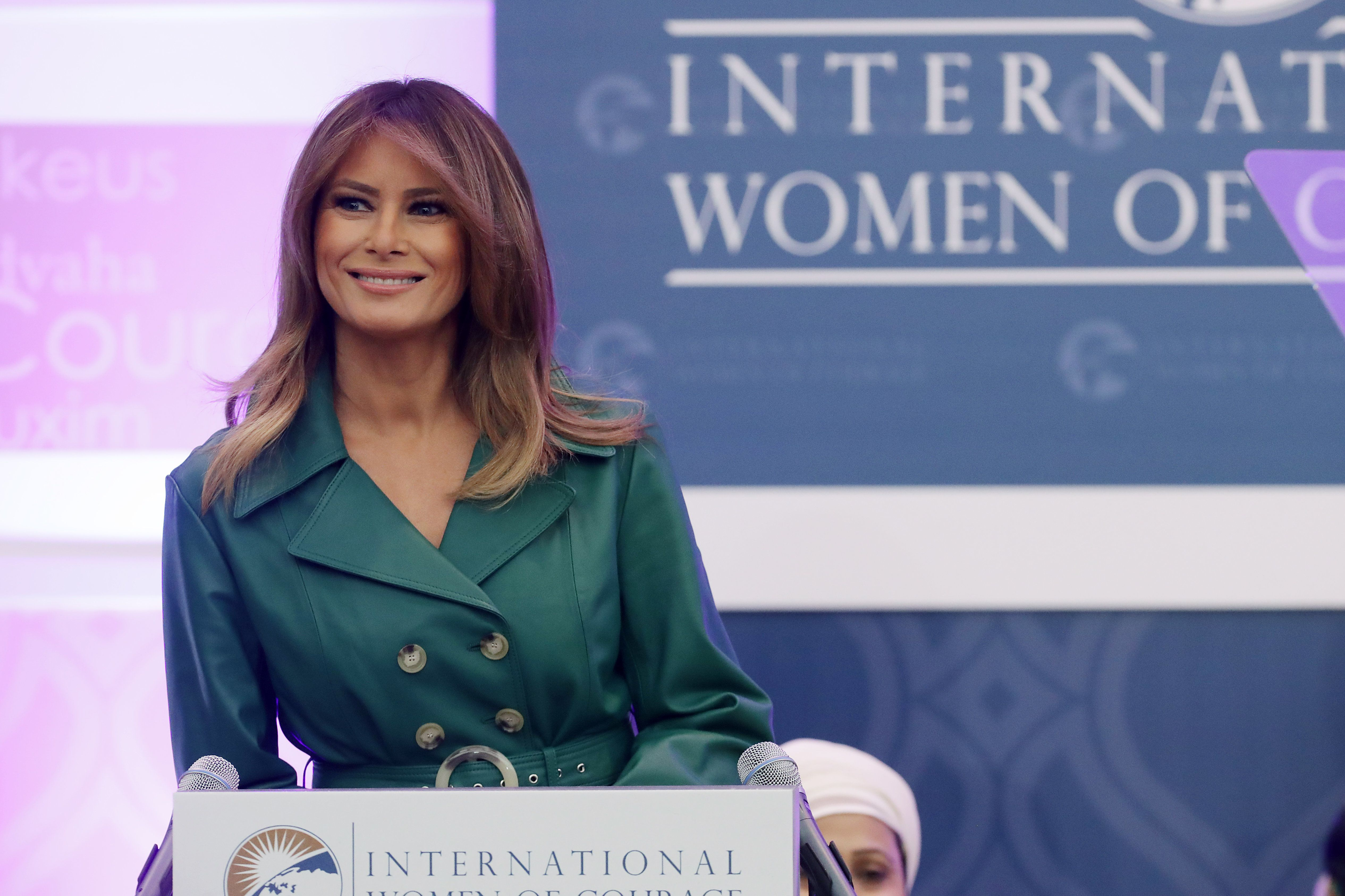 First lady Melania Trump delivers remarks during the International Women of Courage Awards in the Dean...