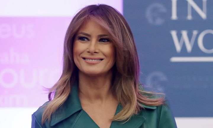 First lady Melania Trump delivers remarks during the International Women of Courage Awards in the Dean Acheson Auditorium at