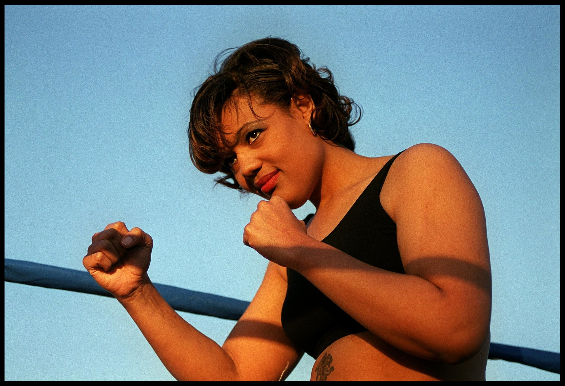 E366916. 03/31/00. Las Vegas, NV. Boxer Freeda Foreman daughter of George Foreman takes a break from training. Picture by DAN CALLISTER Online USA Inc