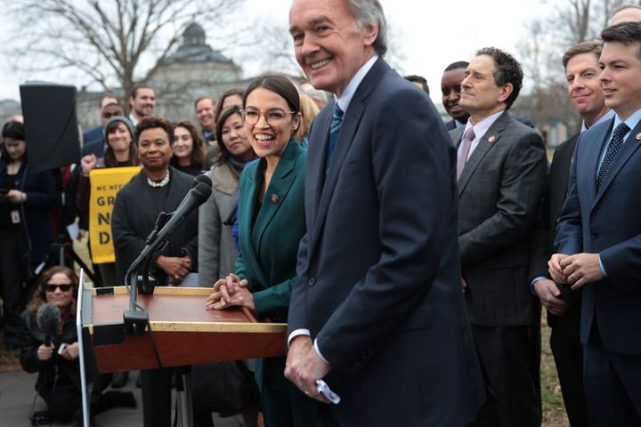 Rep. Alexandria Ocasio-Cortez (D-N.Y.) and Sen. Ed Markey (D-Mass.) at a press conference announcing their Green New Deal res