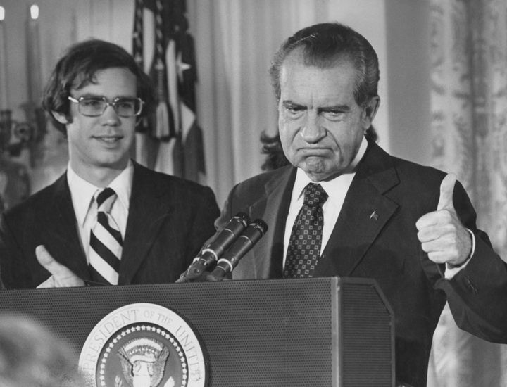 President Richard Nixon resigns days after the Supreme Court ruled that he could not claim executive privilege to prevent the