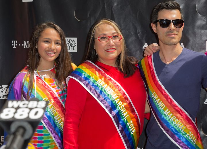 Grand marshals Jazz Jennings, Cecilia Chung and Subhi Nahas attend a press conference at the 46th annual Pride parade to celebrate gay, lesbian and transgender community in New York City.
