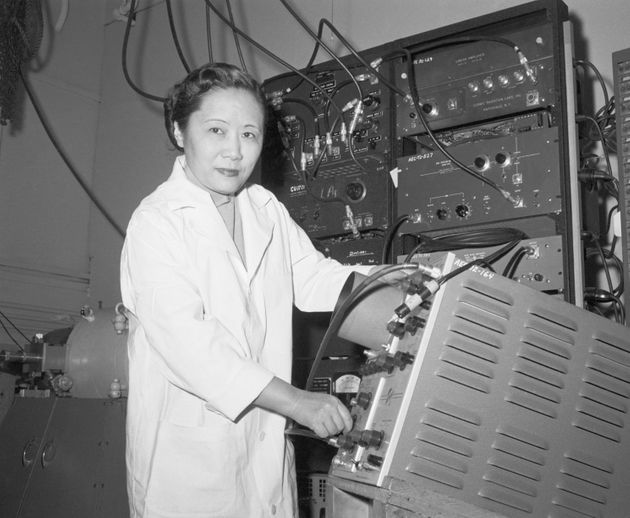 Physics professor Dr. Chien-Shiung Wu in a laboratory at Columbia University in an undated
