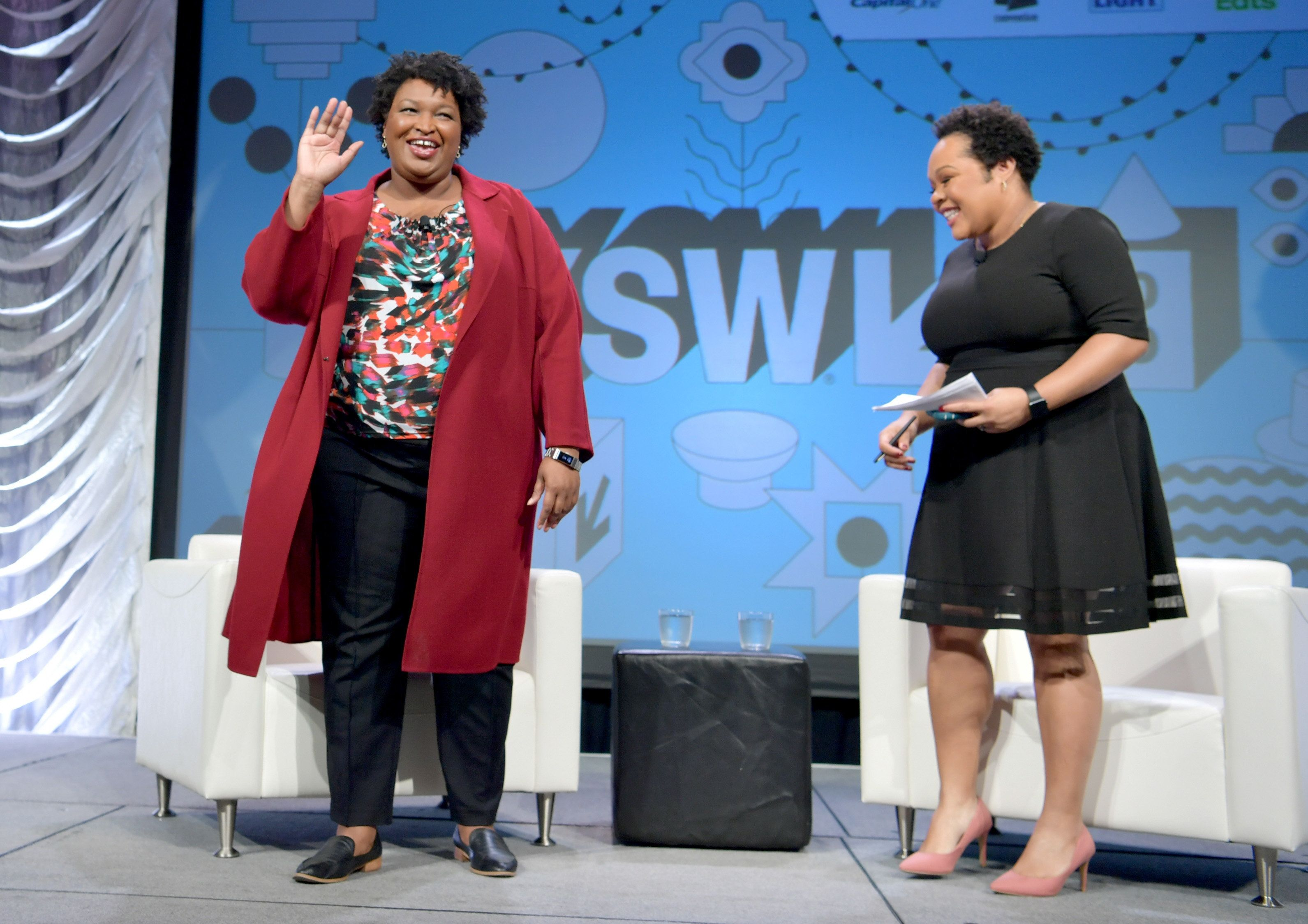AUSTIN, TX - MARCH 11:  Stacey Abrams and Yamiche Alcindor speak onstage at Featured Session: Lead from the Outside: How to Make Real Change during the 2019 SXSW Conference and Festivals at Hilton Austin on March 11, 2019 in Austin, Texas.  (Photo by Danny Matson/Getty Images for SXSW)