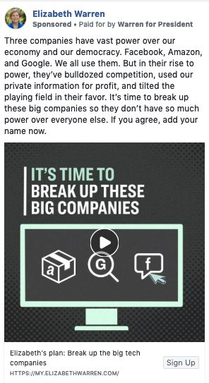 Screenshot of the ad that Facebook temporarily took down. The ad has since been